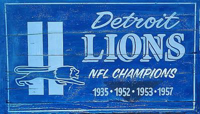 Detroit Lions Sign Art Print by Bill Cannon