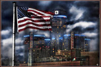 Fox Digital Art - Detroit Mi Usa Flag by Nicholas  Grunas