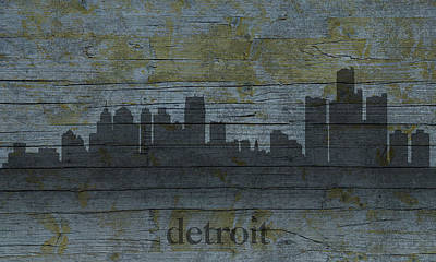 Skyline Mixed Media - Detroit Michigan City Skyline Silhouette Distressed On Worn Peeling Wood by Design Turnpike