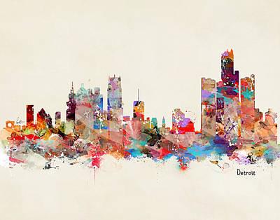 Painting - Detroit Michigan Skyline by Bri B