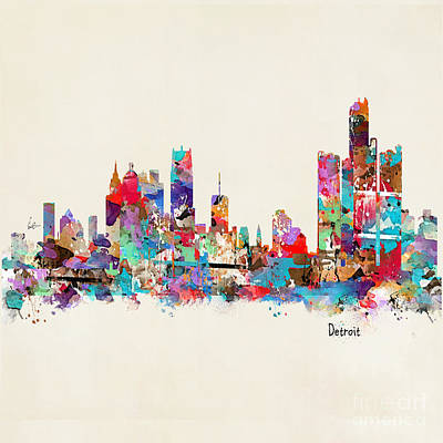 Detroit Michigan Skyline Square Art Print