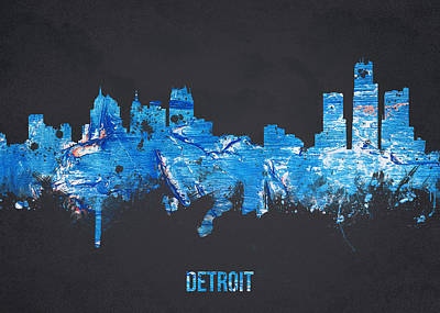 Usa United States Mixed Media - Detroit Michigan Usa by Aged Pixel