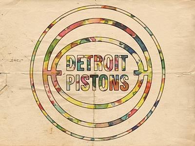 Painting - Detroit Pistons Vintage Logo by Florian Rodarte