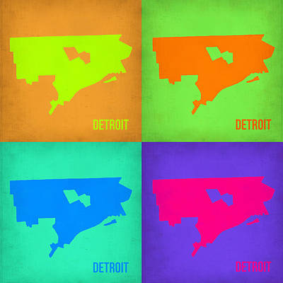 Detroit Wall Art - Painting - Detroit Pop Art Map 1 by Naxart Studio