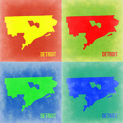 Detroit Wall Art - Painting - Detroit Pop Art Map 2 by Naxart Studio