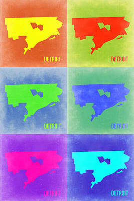 Detroit Wall Art - Painting - Detroit Pop Art Map 3 by Naxart Studio