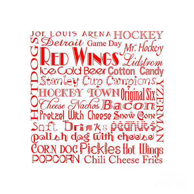 Digital Art - Detroit Red Wings Game Day Food Square 1 by Andee Design
