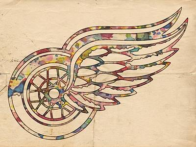 National Hockey League Painting - Detroit Red Wings Poster Art by Florian Rodarte
