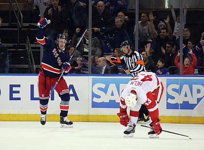 Photograph - Detroit Red Wings V New York Rangers by Bruce Bennett