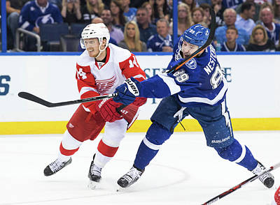 Photograph - Detroit Red Wings V Tampa Bay Lightning by Scott Audette