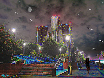 Detroit Riverwalk Art Print by Michael Rucker