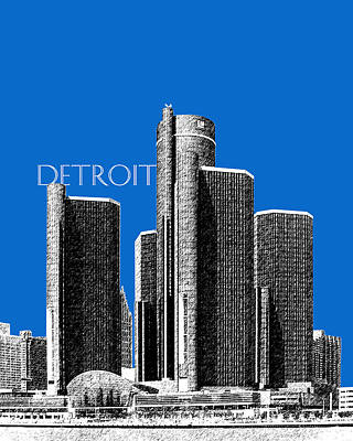 Pen Digital Art - Detroit Skyline 1 - Blue by DB Artist