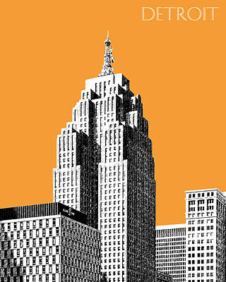 Pen Digital Art - Detroit Skyline 2 - Orange by DB Artist