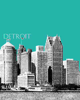 Pen Digital Art - Detroit Skyline 3 - Teal by DB Artist