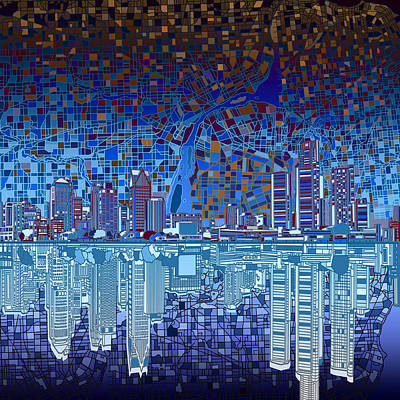 Michigan Painting - Detroit Skyline Abstract 2 by Bekim Art