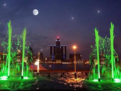 Detroit Skyline At Night Original