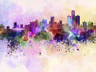 Splatter Digital Art - Detroit Skyline In Watercolor Background by Pablo Romero