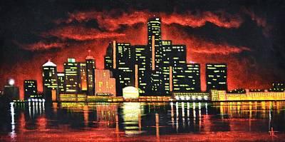 Sunsert Painting - Detroit Sold by Thomas Kolendra