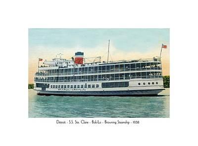 Detroit - Ss Sainte Claire - Boblo - Browning Steamship - 1938 Art Print