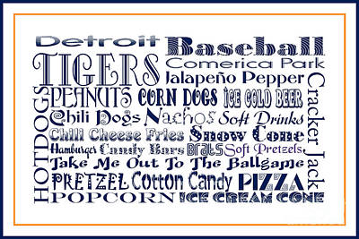 Digital Art - Detroit Tigers Baseball Game Day Food 3 by Andee Design