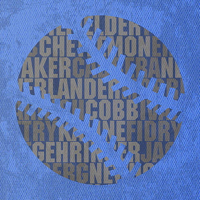 Detroit Tigers Baseball Typography Famous Player Names On Canvas Art Print by Design Turnpike