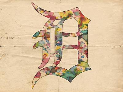 Bat Digital Art - Detroit Tigers Logo Vintage by Florian Rodarte