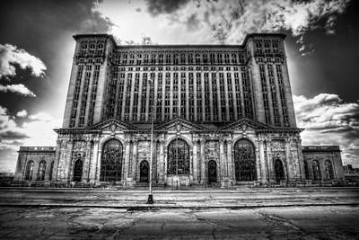 Unsafe Digital Art - Detroit's Abandoned Michigan Central Train Station Depot In Black And White by Gordon Dean II
