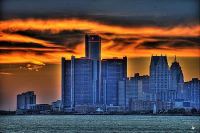Detroits Sky Art Print by Nicholas  Grunas