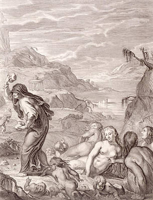 Temple Drawing - Deucalion And Pyrrha Repeople The World By Throwing Stones Behind Them by Bernard Picart