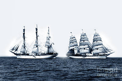 Photograph - Deutschland 3-masted Barque At Sea Circa 1900 by California Views Mr Pat Hathaway Archives