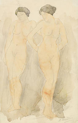 Lesbian Drawing - Deux Figures Debout by Auguste Rodin