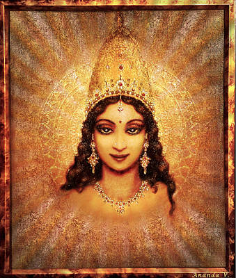 Art Print featuring the mixed media Devi Darshan by Ananda Vdovic