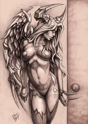 Angels Drawing - Devil Angel by David Bollt
