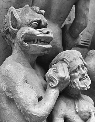 In Relief Photograph - Devil Pushing A Damned Person In The Fire by French School
