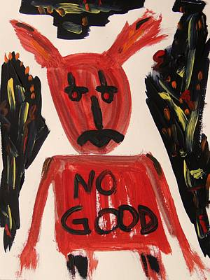 Visionary Art Drawing - devil with NO GOOD tee shirt by Mary Carol Williams