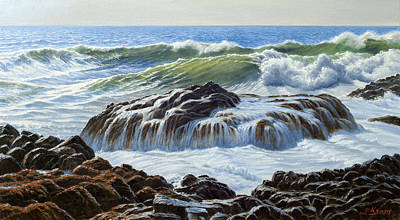 Surf Painting - Devil's Churn Area-oregon Coast by Paul Krapf