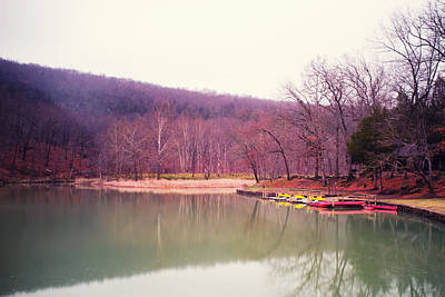 Devil's Den Lake And Canoes Print by Tanya Harrison