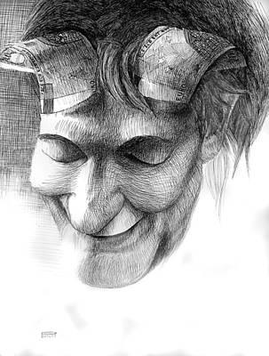 Betlej Drawing - Devils Money by Piotr Betlej