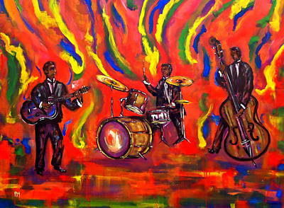 Jazz Band Drawing - Devils Music by Pete Maier