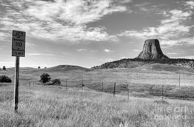 Photograph - Devils Tower Encounter 1 Bw by Mel Steinhauer