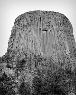 3rd Base Photograph - Devils Tower National Monument Bw by Elizabeth Sullivan