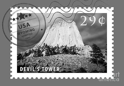 Digital Art - Devils Tower National Monument Wyoming Usa Black And White Stamp Themed Poster by Shawn O'Brien