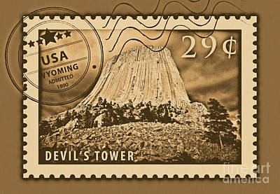 Photograph - Devils Tower National Monument Wyoming Usa Rustic Stamp Themed Poster by Shawn O'Brien
