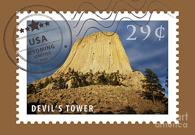 Digital Art - Devils Tower National Monument Wyoming Usa Stamp Themed Poster by Shawn O'Brien