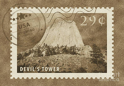 Digital Art - Devils Tower National Monument Wyoming Usa Vintage Stamp Themed Poster by Shawn O'Brien