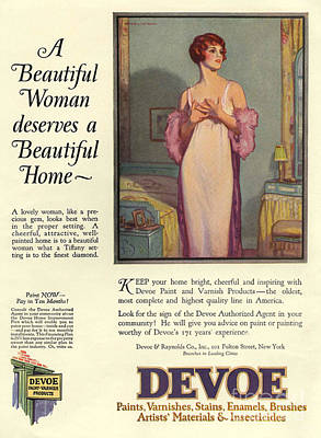 Drawing - Devoe Varnish 1920s Usa Cc Portraits by The Advertising Archives