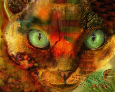 Digital Art - Devon Rex - Lit From Within by Marlene Watson