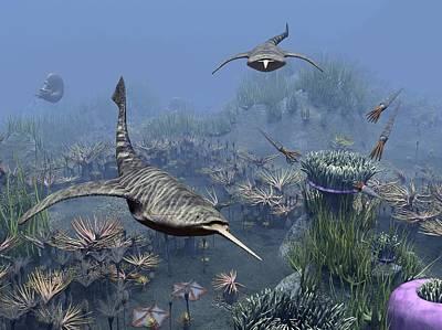 Devonian Sea, Artwork Art Print by Science Photo Library