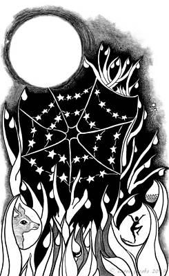 Art Print featuring the digital art Dewdrop Stars by Carol Jacobs