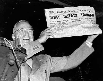 Defeated Photograph - Dewey Defeats Truman Newspaper by Underwood Archives